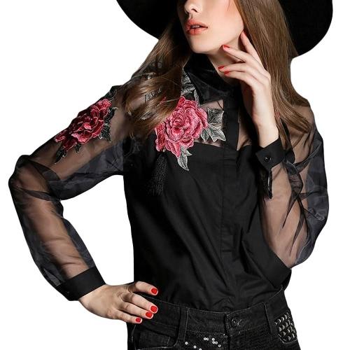 Neue Weinlese-Frauen Applikationen Bluse mit Blumen Button-Down-Organza Splicing langen Ärmeln Shirt Schwarz / Weiß