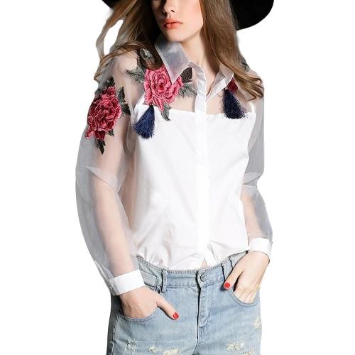 Botón mujeres blusa de flores apliques de la nueva vendimia de Down y organza de empalme manga larga Camisa Negro / Blanco