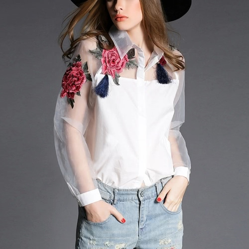 Vintage Women Applique Floral Button Organza Splicing Sleeves Shirt
