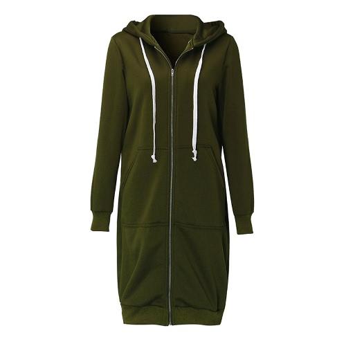 La nueva manera de las mujeres con capucha largas sudaderas con capucha de la capa bolsillos ocasionales de la cremallera de la chaqueta de abrigo Sólido