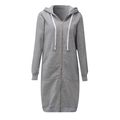 Nova Moda Mulheres hoodie longo da moletom com capuz Brasão Pockets Casual Zipper Jacket Sólidos