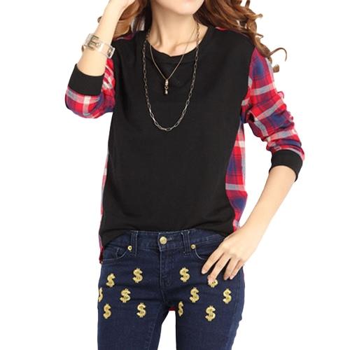 Kobiety Plus Shirt Rozmiar Plaid Długie rękawy High-Low Hem wokół szyi Casual Bluzka Top Black / Grey
