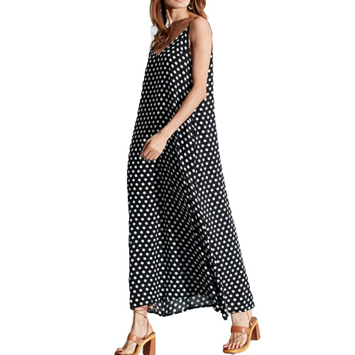 Kobiety Sukienka Grochy Print V Neck bez rękawów Luźna Długa Suknia Casual Vintage One Piece