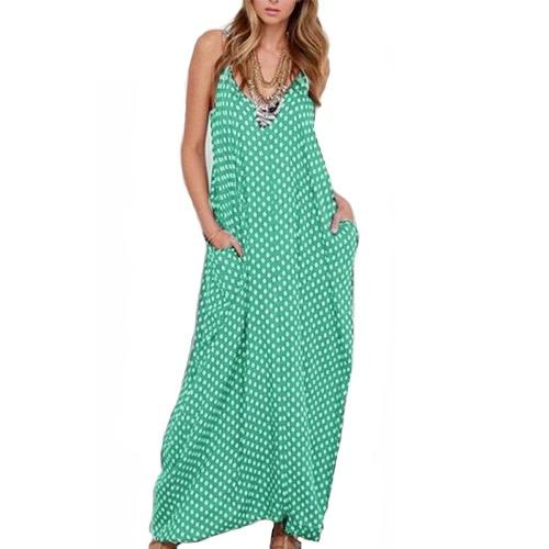 Vestido de las mujeres del lunar de impresión sin mangas de cuello V suelta Maxi Long Beach de la vendimia de Bohemia de una sola pieza