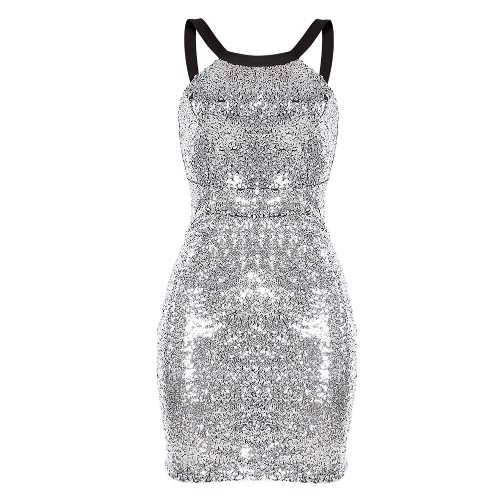 Sexy Women Sequined Dress Backless Round Neck Sleeveless Cocktail Party Evening Club Dress Gold/Silver