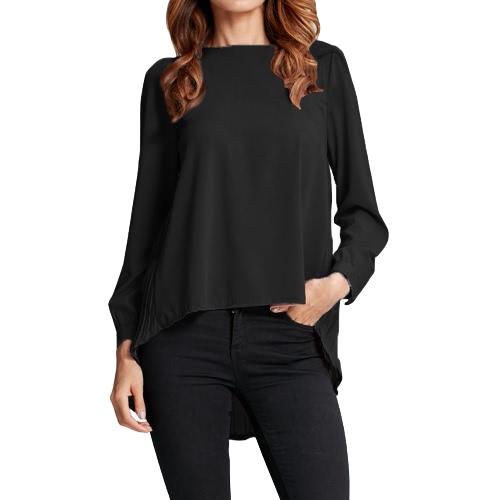 New Mulheres Chiffon Blusa plissada O-Long Neck Sleeve Asymmetric soltas Casual Sólidos Plus Size parte superior da camisa