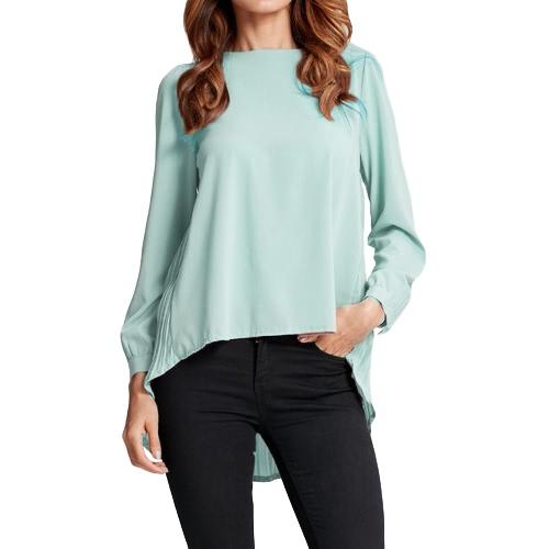 Manga de las nuevas mujeres blusa de gasa plisada o-cuello asimétrico flojo sólido ocasional más la camiseta Top