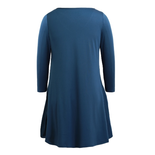 Spring Women Autumn Basic Loose Short Dress Three Quarter Sleeves Solid O-Neck Mini Swing Dress Blue, TOMTOP  - buy with discount