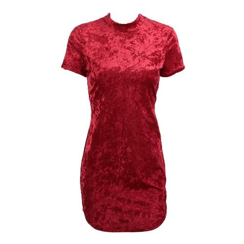 Las mujeres mini vestido de terciopelo del alto cuello redondeado Hem Partido de la cremallera de Bodycon del lápiz del club de noche de una sola pieza