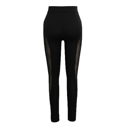 New Mulheres Esporte Leggings Yoga Sheer malha Splice estiramento ginásio da aptidão que funciona BODYCON calças pretas