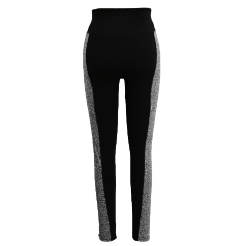 Mujeres Deportes polainas tramo de yoga pantalones de entrenamiento elástico aptitud de la gimnasia jogging Medias Pantalones Negro