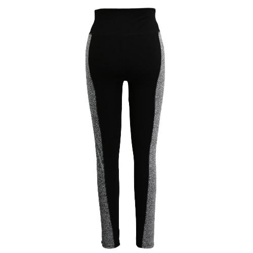 Frauen-Sport-Leggings Stretch Yoga Pants Elastic Workout Gym Fitness Jogging Strumpfhosen Hose Schwarz