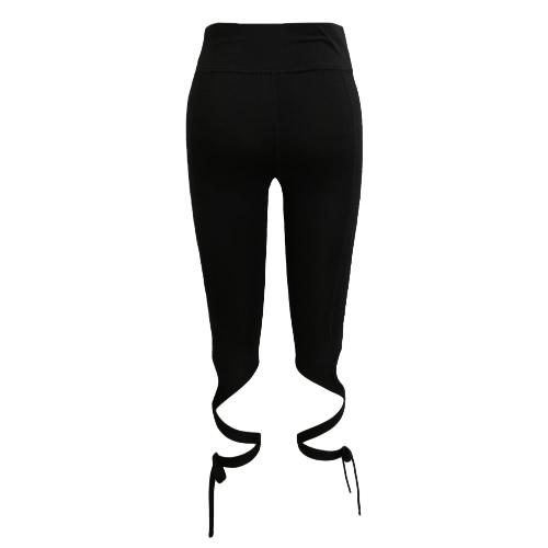 Donne pantaloni Pantaloni Tie Leggings a vita alta Croce dell'elastico mette in allenamento Collant Fitness Nero