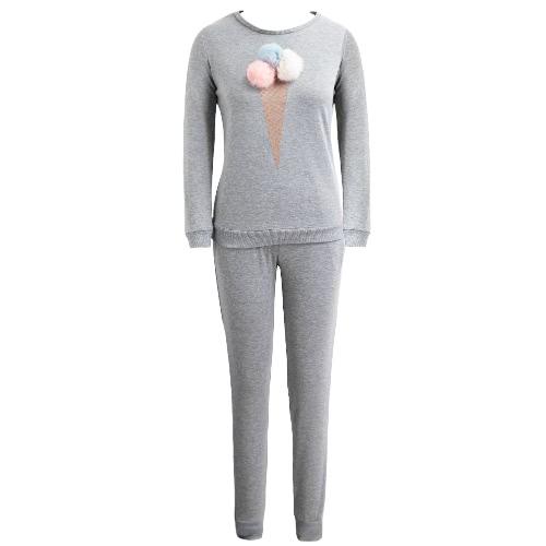 Mulheres Treino Dois Set Pieces Sportswear Pom Pom Ice Cream Impressão Elastic camisola calças compridas Set Casual