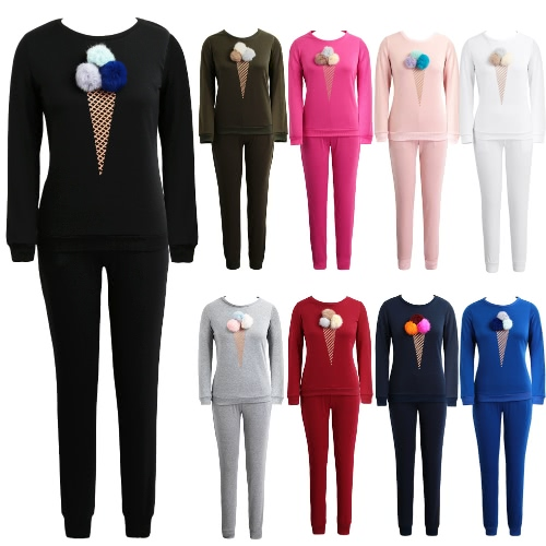Women Tracksuit Two Pieces Set Sportswear Pom Pom Ice Cream Print Elastic Sweatshirt Long Pants Casual Set, TOMTOP  - buy with discount