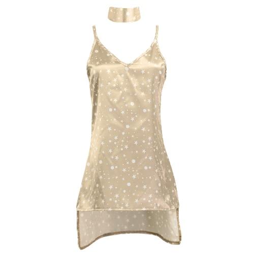 Neue reizvolle Frauen Beleg-Kleid mit tiefem V-Ausschnitt Halsband Spaghetti-Bügel aus Seide und Satin A-Line Shiny Partei-Minikleid