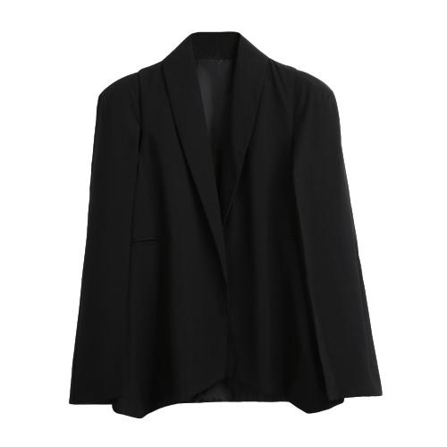 New Mulheres Cape Blazer jaqueta de lapela bolsos racharam Casual Suit Sólidos Brasão Manto Vestuário Casacos