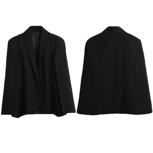 New Women Cape Blazer Jacket Lapel Split Pockets Casual Solid Cloak Coat Suit Workwear Outerwear