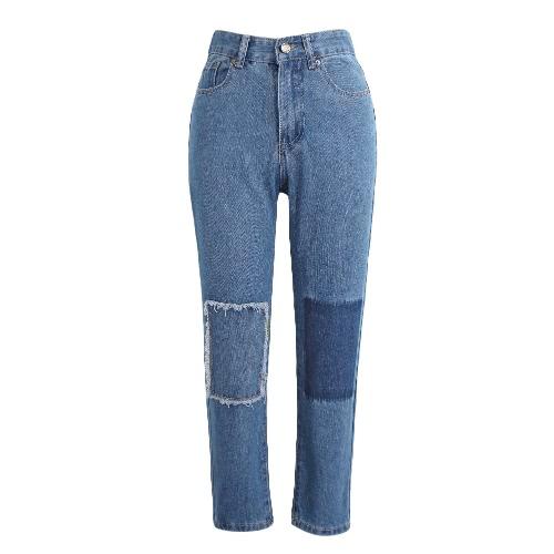 Nova Moda Mulheres Denim Jeans Patch de Boyfriend Lavado mediana cintura cortadas magros calças calças azuis