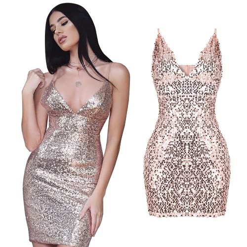 Sexy Women Sequined Dress Spaghetti Strap Backless Party Nightclub Bodycon Pencil Mini Dress Pink/Red/Blue