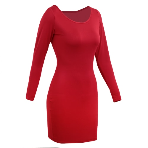Sexy Women Mini Dress Bodycon Solid O-Neck Long Sleeves Casual Elegant Slim Party Dress Red, TOMTOP  - buy with discount