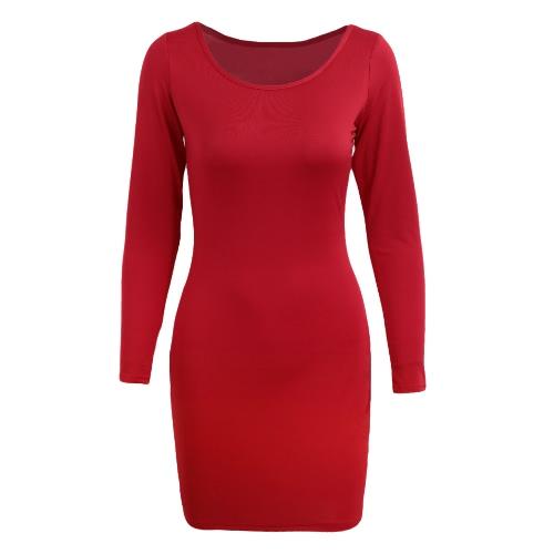 Atractivo de las mujeres mini Vestido ajustado O-Cuello sólido de manga larga roja del vestido de partido ocasional delgado elegante