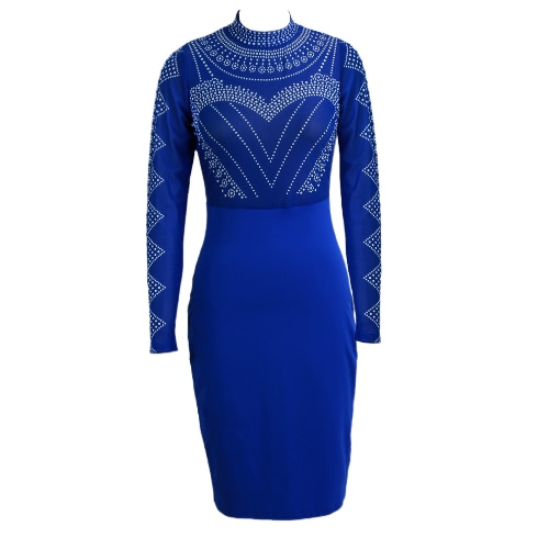 Neue reizvolle Frauen Kleid semi-transparente Stehkragen Langarm-Punkt-Muster-Reißverschluss Bodycon Partei-Minikleid