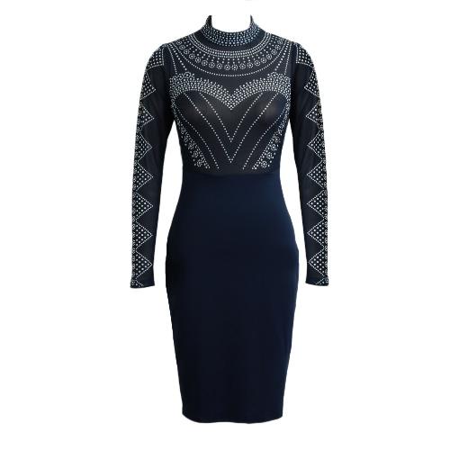 Nuevo vestido atractivo de las mujeres semi-transparente del collar del soporte de manga larga de la cremallera del patrón de punto del partido de Bodycon del mini vestido