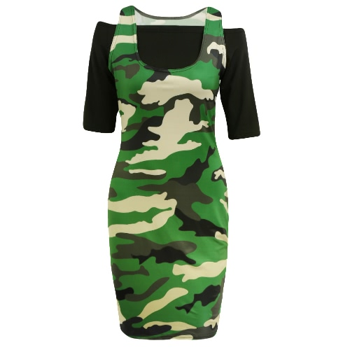 New Women Crop Top Mini Dress Bodycon Camouflage Off Shoulder Half Sleeves Casual Two-Piece Army Green