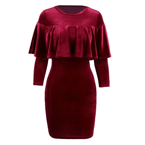 Sexy Frauen-Mini Velvet figurbetontes Kleid Solid Color Ruffle O-Ansatz halbe Hülsen-Partei-dünnes Kleid Schwarz / Burgund / Royal Blue