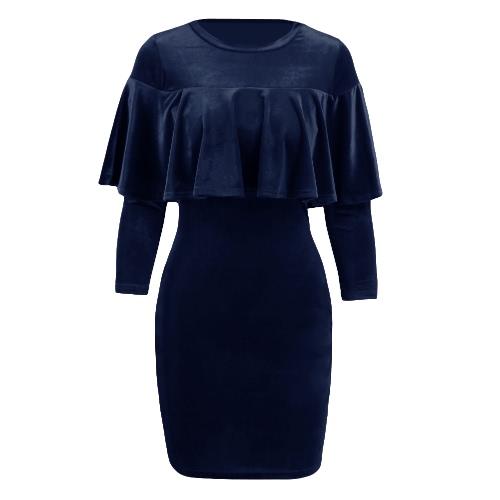 Delgado Negro vestido atractivo de las mujeres mini terciopelo Vestido ajustado de la colmena del O-cuello del partido mangas medias sólido de color / Borgoña / azul real