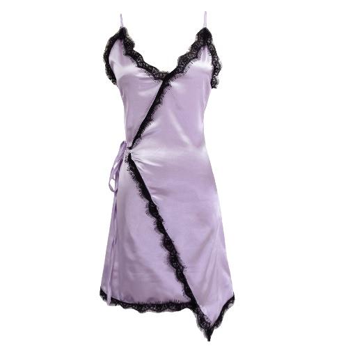 Atractivo de las mujeres mini Resbalón vestido del ajuste del cordón del V-cuello sin mangas dobladillo irregular elegante vestido delgado Negro / Borgoña / púrpura