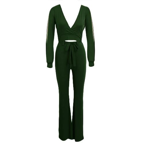 Las mujeres BodyCon Mono cortó a sólidos con cuello en V manga larga Casual Club de Mono corto mamelucos Negro / Borgoña / verde del ejército