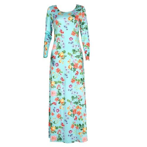 Las mujeres más el vestido estampado de flores de O-cuello de manga larga vestido de noche largo elegante de la fiesta de una sola pieza del traje