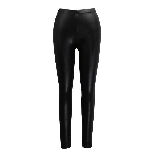 Nuevas polainas de cuero atractivo de las mujeres de imitación sólidos pantalones elásticos de la cintura del estiramiento de Bodycon Pantalones Medias Negro