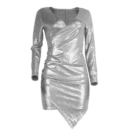 Sexy Plunge Mulheres Bodycon Mini vestido Pescoço V manga comprida Asymmetric Glitter Clubwear Cocktail Party Dress prata