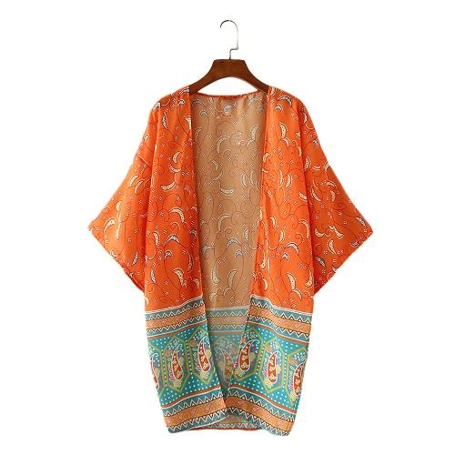 Nowej kobiet szyfonu wierzchnia otwarta przednia Geometria Drukuj Batwing 3/4 rękawy Cienki Vintage Luźny Sweter Płaszcz Pomarańczowy