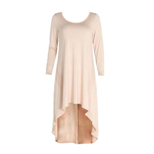 Las nuevas mujeres de la manera floja mini vestido asimétrico color sólido de manga larga del O Cuello del vestido ocasional acanalado