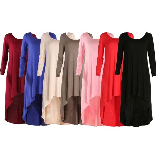 Fashion Women Loose Mini Dress Asymmetric Solid Color Long Sleeve O Neck Casual Ruched Dress, TOMTOP  - buy with discount