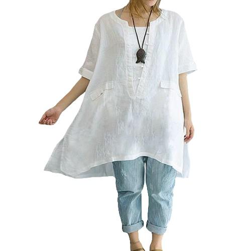 Neue Frauen-feste lose lange Blusen-Normallack-Taschen O-Ansatz Kurzschluss-Hülsen-Pullover-beiläufiges elegantes Hemd-Kleid-Weiß
