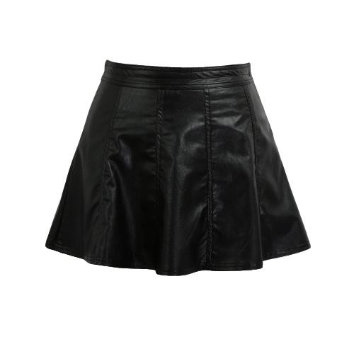 Nowe Mini Skirt Sexy Kobiety PU Leather Zipper Ruffled Hem Romantyczny Slim-line klubowa Czarny