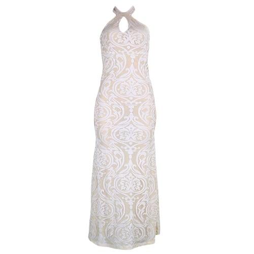 Vestido de la flor de las mujeres elegantes sin mangas partido Backless largo del vestido de noche del vestido de Negro / Blanco