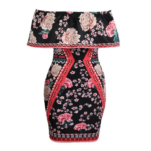 Nuevo atractivo de las mujeres de Bodycon del vestido de la impresión floral de la colmena del hombro de la envoltura del mini vestido de Negro