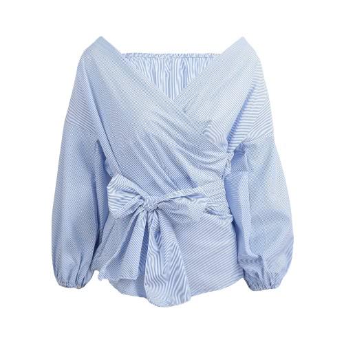 Neue Art und Weise Frauen-Bluse Sexy Kreuz mit V-Ausschnitt weg vom Schulter-Laterne Hülse Taille Bügel-Hemd Tops Weiß / Blau / Burgund