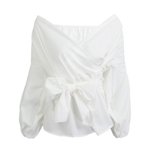 Las nuevas mujeres de la Cruz atractiva de la blusa de cuello en V manga del hombro de la linterna de la cintura de la correa de tapas de la camisa blanco / azul / Borgoña