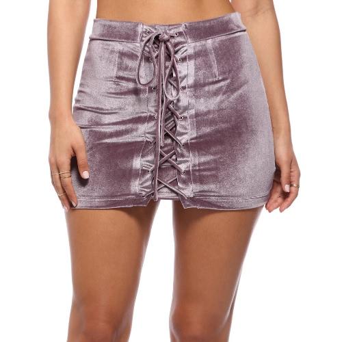 Mulheres Velvet Lace-up Bodycon saia Correias ilhós mini-saia curta partido preto / roxo / Borgonha