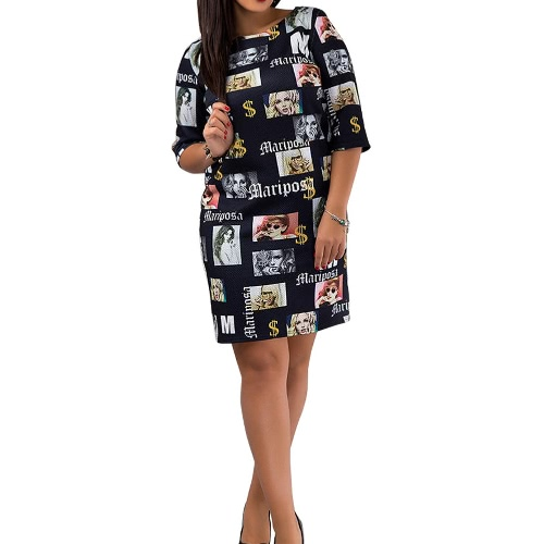 Moda impresión mujeres mini vestido Letras Imprimir O Cuello medias mangas con cremallera dorsal recta H-Line Vestido