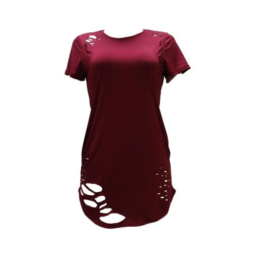 Las mujeres rasgaron los agujeros camiseta larga asimétrica Hem O manga corta cuello apenado destruido Casual Top de
