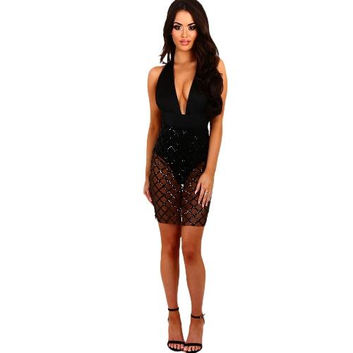 Fashion Women Dress Semi-Sheer Sequins Deep V-Neck Solid Color Sleeve Dress Beige/Black1/Black2