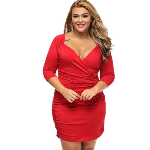 Mode-Frauen-Kleid-Normallack mit tiefem V-Ausschnitt-Kreuz-halbe Hülsen-Rüsche, figurbetontes Kleid Schwarz / Blau / Rot